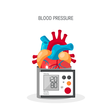 Blood pressure vector concept. Design with human heart and blood pressure monitor in flat style. Banque d'images - 121404835