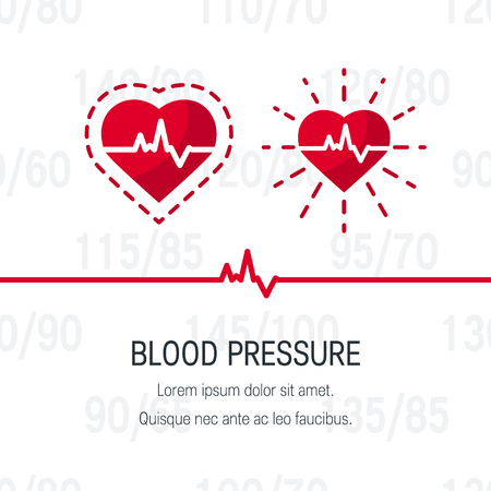 Blood pressure vector concept. Design with pulsating human heart in flat style.