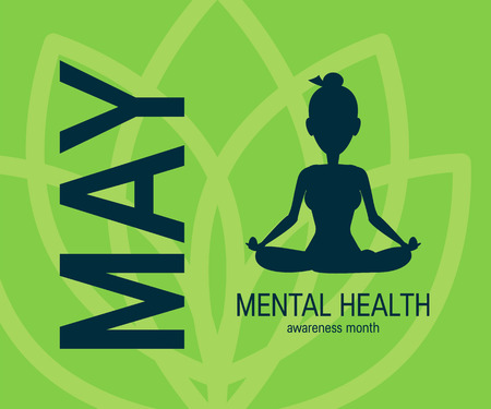 Mental health awareness month concept. Icon template with meditating woman and lotus flower. Vector illustration in flat style.