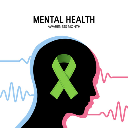 Mental health awareness month concept. Square design with human head, brain waves and green ribbon, vector
