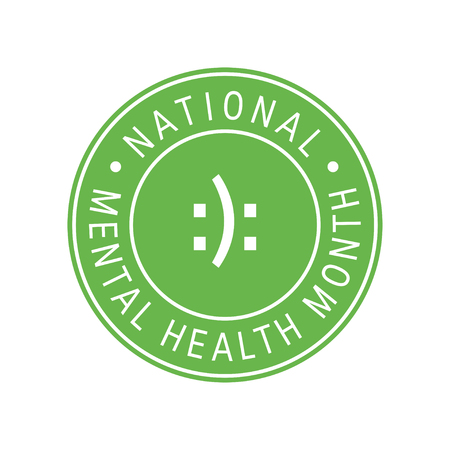 Mental health awareness month concept. Round design in flat style, vector