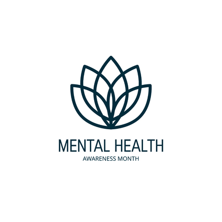 Mental health awareness month concept. Logo template with lotus flower. Vector illustration in flat style.