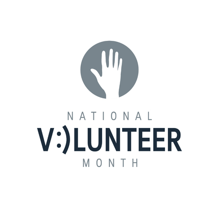 National volunteer month concept. Minimalistic design for posters, web banners, infographics etc. in flat style, vector