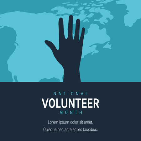 National volunteer month concept. Minimalistic square template for posters, web banners, infographics etc. in flat style, vector Ilustração
