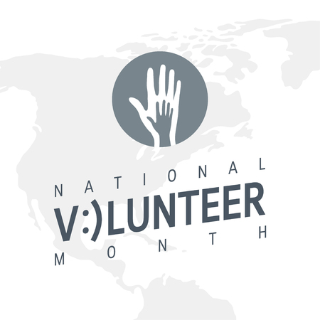 National volunteer month concept. Minimalistic design for posters, web banners, infographics etc. in flat style, vector Vector Illustration