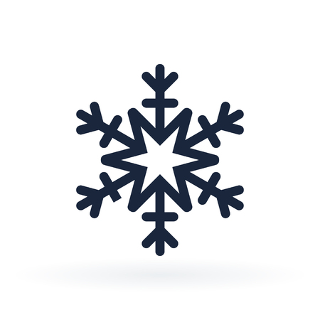 Simple snowflake icon in line style. Vector illustration on white background