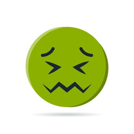 Ronde groene emoji. Eenvoudige vectorillustratie van een misselijk gezicht voor chats in vlakke stijl