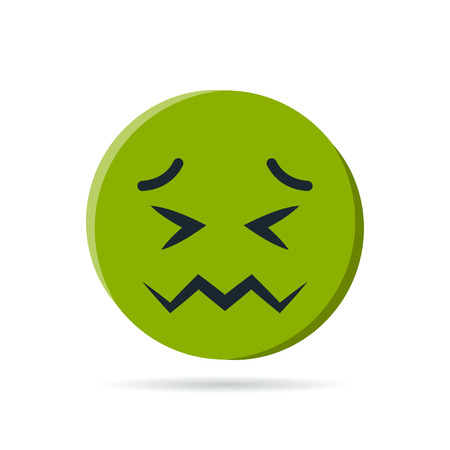 Round green emoji. Simple vector illustration of a nauseated face for chats in flat style