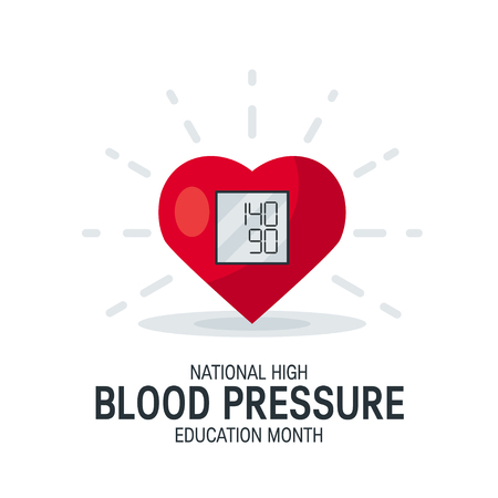 National high blood pressure education month concept. Simple design with heart as tonometer in flat style.