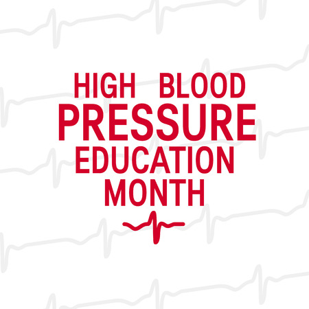 High blood pressure education month concept. Simple typographic design in heart shape. Vector illustration in flat style Illustration