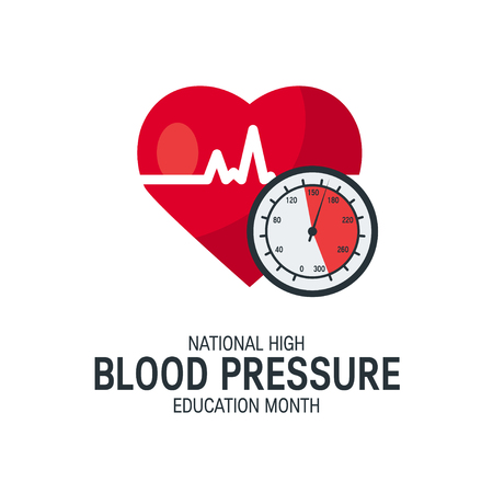 National high blood pressure education month concept. Simple design with heart and tonometer in flat style, vector Banque d'images - 121404928