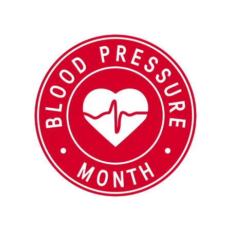 Blood pressure month concept. Round badge in flat style, vector Illustration
