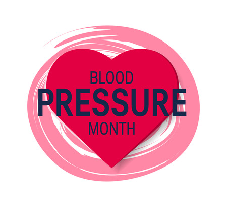 Blood pressure month concept. Simple design with shape of a heart in flat style, vector Illustration