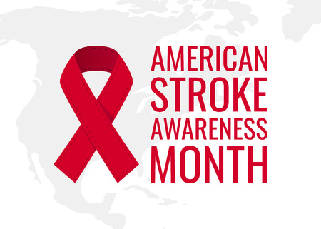 American stroke awareness month concept. Simple typography design with red ribbon in flat style, vector
