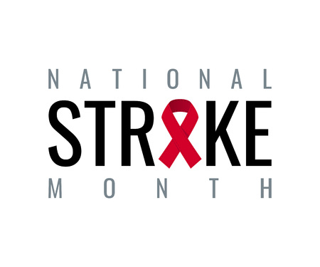 American stroke awareness month concept. Simple typography design in flat style, vector Ilustración de vector