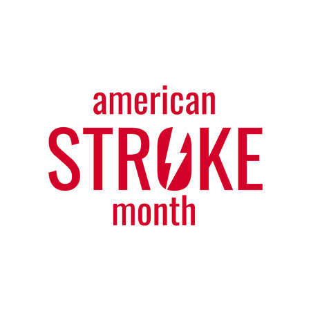 American stroke month concept. Simple typography design in flat style, vector