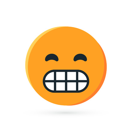 Round yellow emoji. Simple vector illustration of a grin face for chats in flat style Ilustração