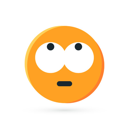 Round yellow emoji. Simple vector illustration of a face with rolling eyes for chats in flat style