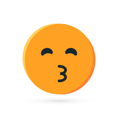 Round yellow emoji. Simple vector illustration of a kissing face for chats in flat style