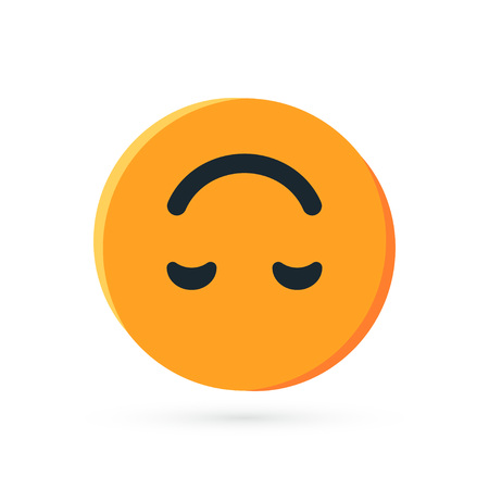 Round yellow emoji. Simple vector illustration of a upside down face for chats in flat style