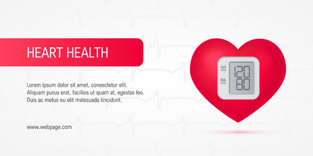 Realistic 3d heart as a blood pressure monitor. Horizontal vector template for cardiovascular health banners