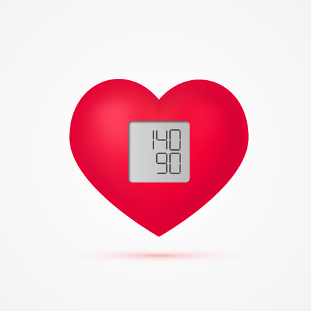 Hypertension vector concept. Heart as a blood pressure monitor in realistic 3d style.