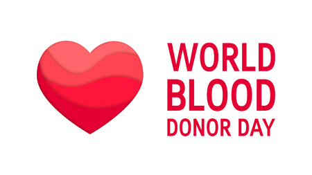 World blood donor day concept. Vector horizontal design with red heart and typography in papercut style