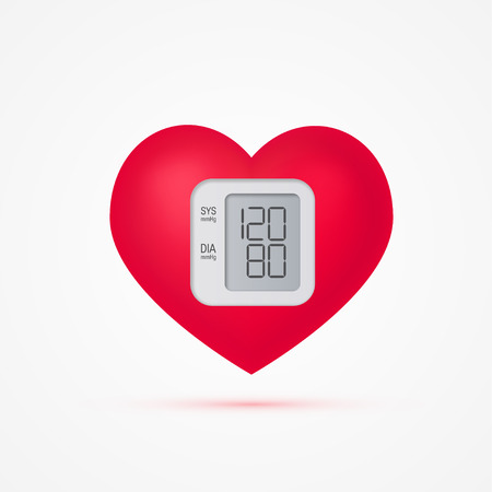 Heart as a blood pressure monitor in realistic 3d style. Cardiovascular health vector concept. Illustration