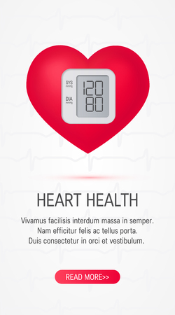 Realistic 3d heart as a blood pressure monitor. Vertical vector template for cardiovascular health banners etc.