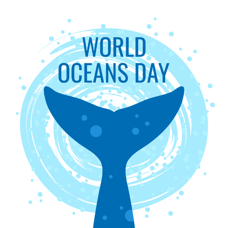 World oceans day concept. Square design for web banners, posters, cards. Vector illustration with a whales tail in flat style.