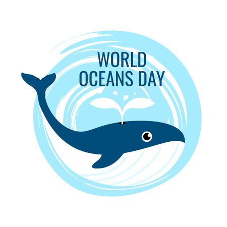 World oceans day concept. Square design for web banners, posters, cards. Vector illustration with a whale in flat style.