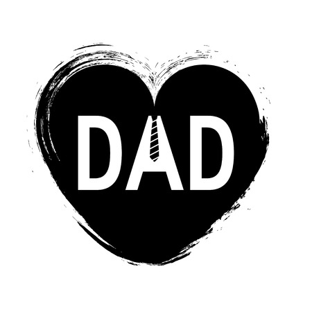 Dad typography for fathers day concept. Vector illustration with hand drawn heart for designs, greeting cards, banners etc.