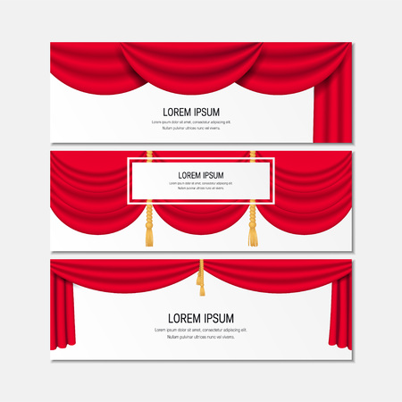 Horizontal banners with red realistic curtains. Vector illustration isolated on white background