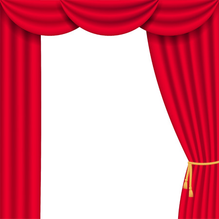 Red curtain realistic frame. Vector illustration isolated on white background