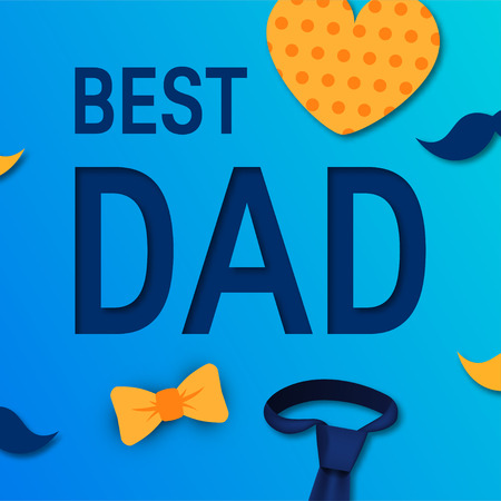 Best dad concept for fathers day. Vector typography with heart, tie, mustache and bow tie for designs, greeting cards, banners etc. Illustration