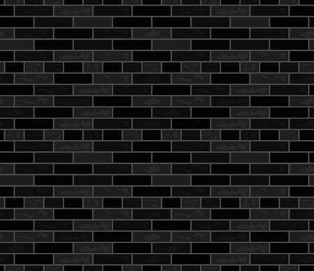 Black vector brick wall seamless pattern. Rectangular illustration in flat style