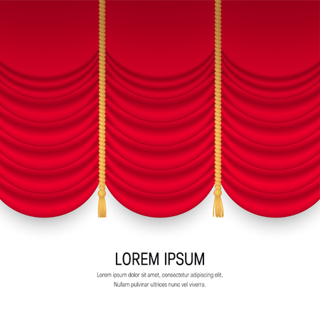 Square banner with red realistic curtains. Vector illustration isolated on white background