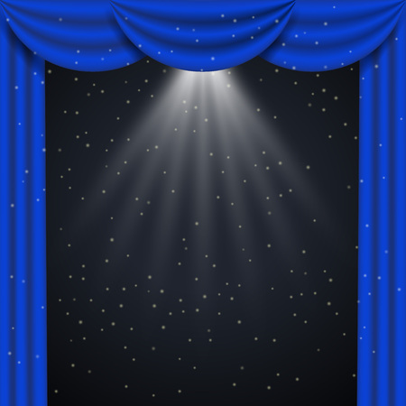 Blue curtain realistic frame. Vector illustration isolated on black background