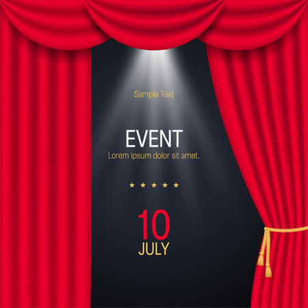 Square poster or banner with red realistic curtains. Vector illustration on black background Illustration