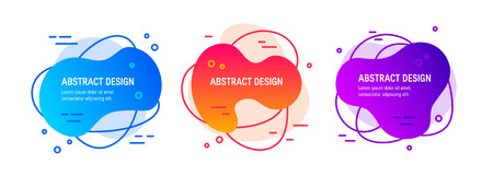 Set of liquid fluid designs. Abstract gradient geometric shapes as a template for posters, labels, banners etc. Illustration