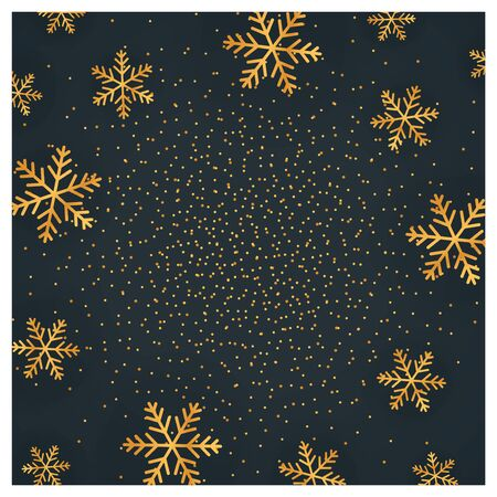 Square luxury Christmas card with golden snowflakes on black background, vector illustration. Illustration