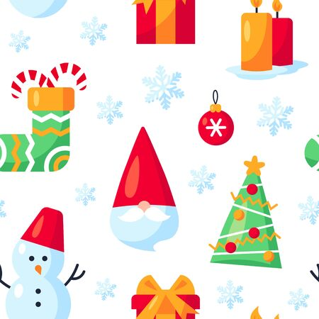 Seamless pattern with Christmas items in flat style. Vector illustration on white background