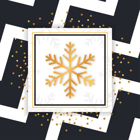 Square Christmas card with golden glittering snowflake. Vector illustration. Illustration