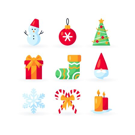 Set of Christmas icons in flat style. Vector xmas ornaments.
