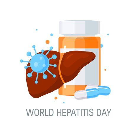 Concept de la journée mondiale de l'hépatite. Concevoir avec des médicaments pour des affiches, des bannières Web, des infographies, etc. dans un style plat, illustration vectorielle