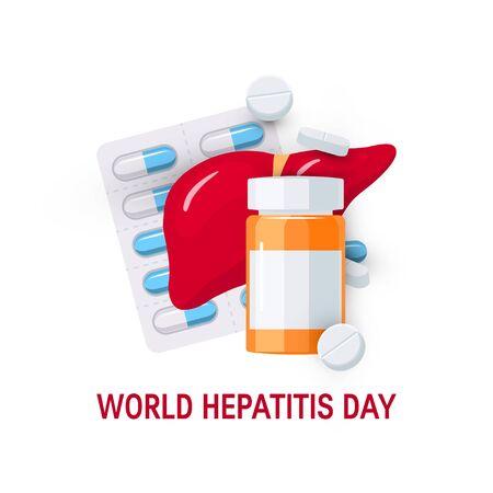 Concept de la journée mondiale de l'hépatite. Concevoir avec des médicaments pour des affiches, des bannières Web, des infographies, etc. dans un style plat, illustration vectorielle Vecteurs