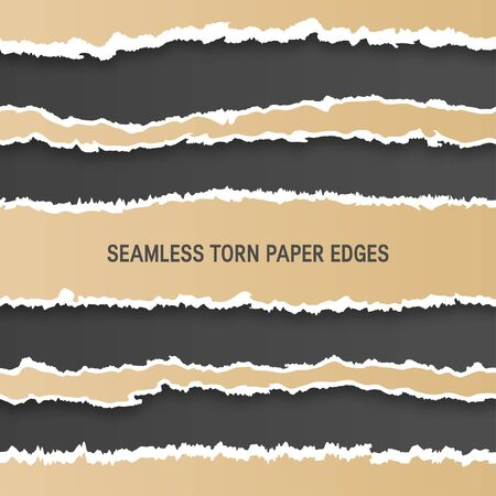 Seamless torn paper edges, natural craft look. Square vector illustration for designs, banners, cards, posters, etc Banque d'images - 127818031
