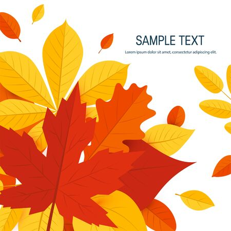 Square autumn template for designs, banners, cards, posters etc. Vector illustration with colorful leaves in flat style  イラスト・ベクター素材