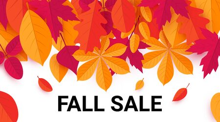 Fall sale promotion design with vibrant leaves. Vector template for advertising, web banners, posters, gift cards, etc. 矢量图像