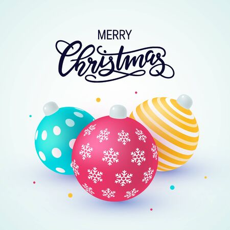 Christmas ornaments in modern matte colors. Vector illustration isolated on white background. Template with hand-drawn lettering for designs, banners, cards, posters etc.